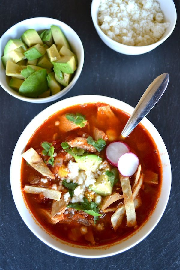 Chicken Tortilla Soup - This authentic recipe uses hominy, queso fresco, and homemade chicken bone broth to create a healthy and delicious soup. It's easy and everyone loves it because they can choose their own toppings! | twothirdscup.com