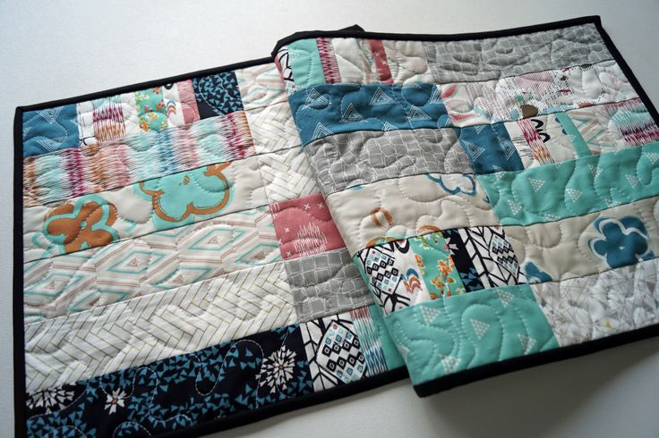 Contemporary Quilted Patchwork Table Runner in Unique Eclectic Fabrics by MyBitOfWonder on Etsy https://www.etsy.com/listing/494335078/contemporary-quilted-patchwork-table