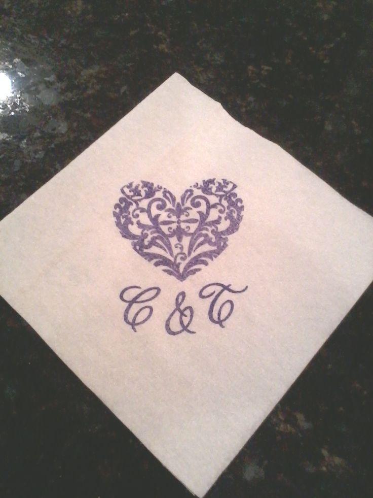 personalized napkins with damask heart in royal blue ink and script font wedding napkins cake. Black Bedroom Furniture Sets. Home Design Ideas