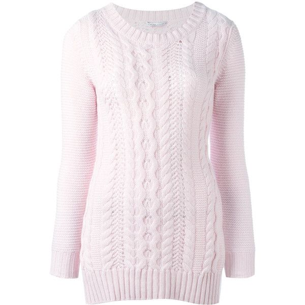 Agnona cable knit jumper ($1,040) ❤ liked on Polyvore featuring tops, sweaters, pink, cable-knit sweater, cashmere cable knit sweater, cashmere jumpers, cable knit jumper and chunky cable knit sweater