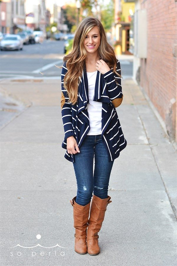 Classic Striped Cardigan with Elbow Patch | Jane