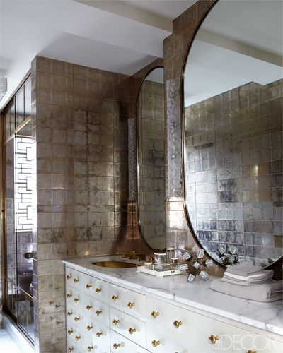 The master bath of actress Cameron Diaz's Manhattan apartment, designed by Kelly Wearstler.