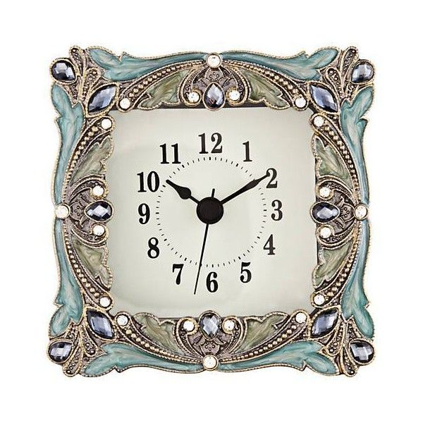 emerada blue and gold jeweled table clock 20 liked on polyvore featuring home - Mantel Der Ideen Mit Uhr Verziert