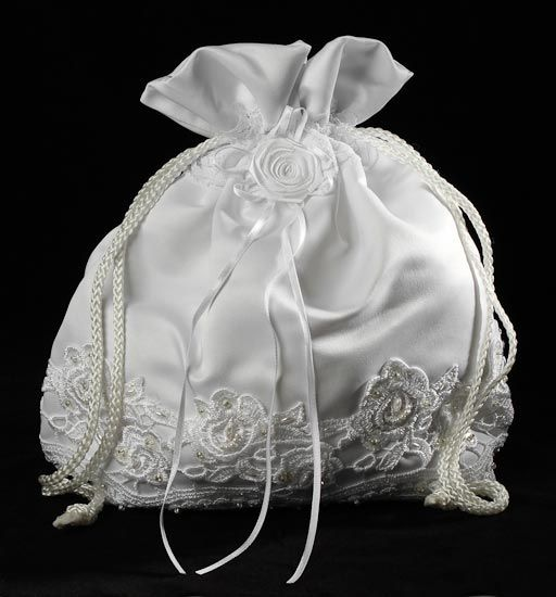 White Satin With Lace Detailing Money Bag Purse Bridal Purses And Totes Wedding Ceremony Accessories Supplies Bags Clutches