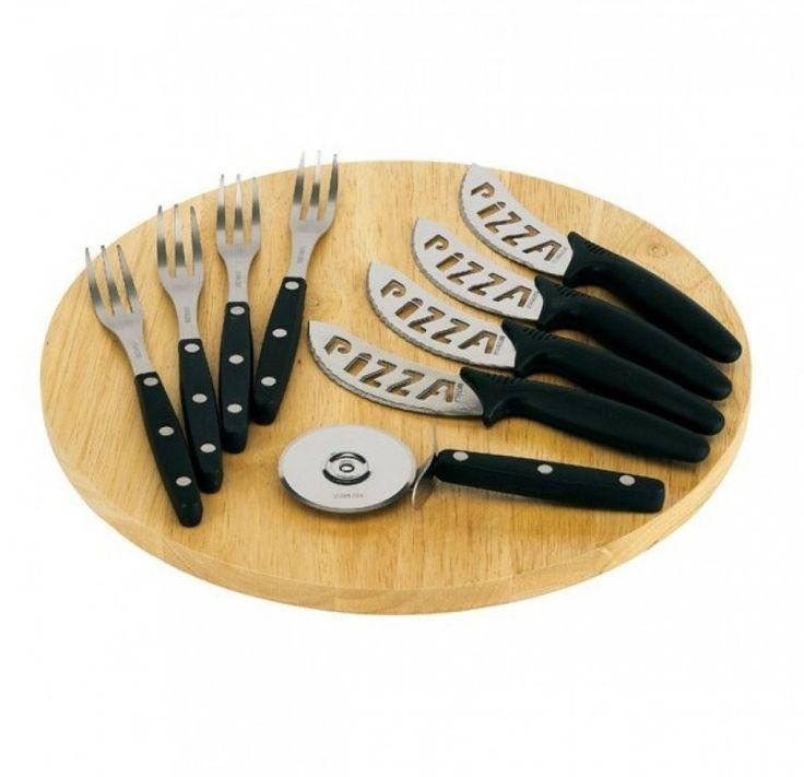 Pizza vágó deszka 4 villával, 4 késsel és egy pizzaszeletelővel -- Méret: 32 cm -- Bruttó súly (kg): 1, 43 -- Szín: ezüst, fa -- RENDELÉSRE !!!! Szállítás: min 3-5 ...