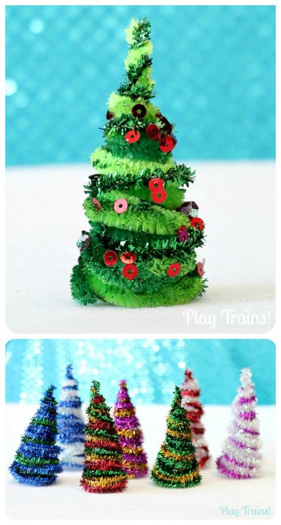 Pipe cleaner Christmas trees - craftionary.net