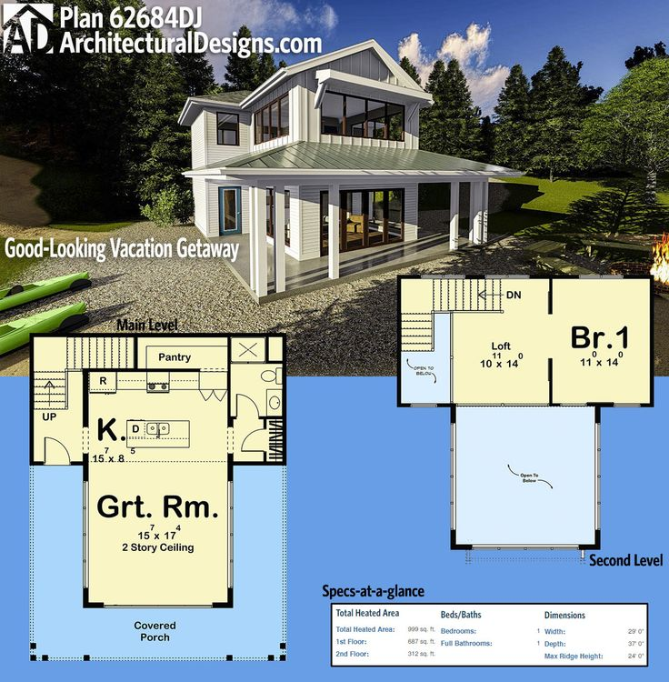 Architectural Designs Small House Plan 62684DJ has