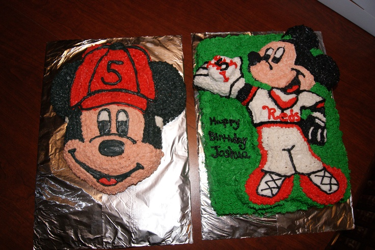 Joshua wanted a baseball Mickey Mouse cake so I altered two Mickey Mouse cakes and created these.