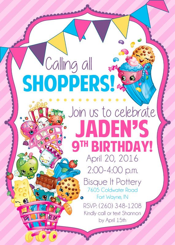 179 best Shopkins Birthday images on Pinterest Shopkins party - format for birthday invitation