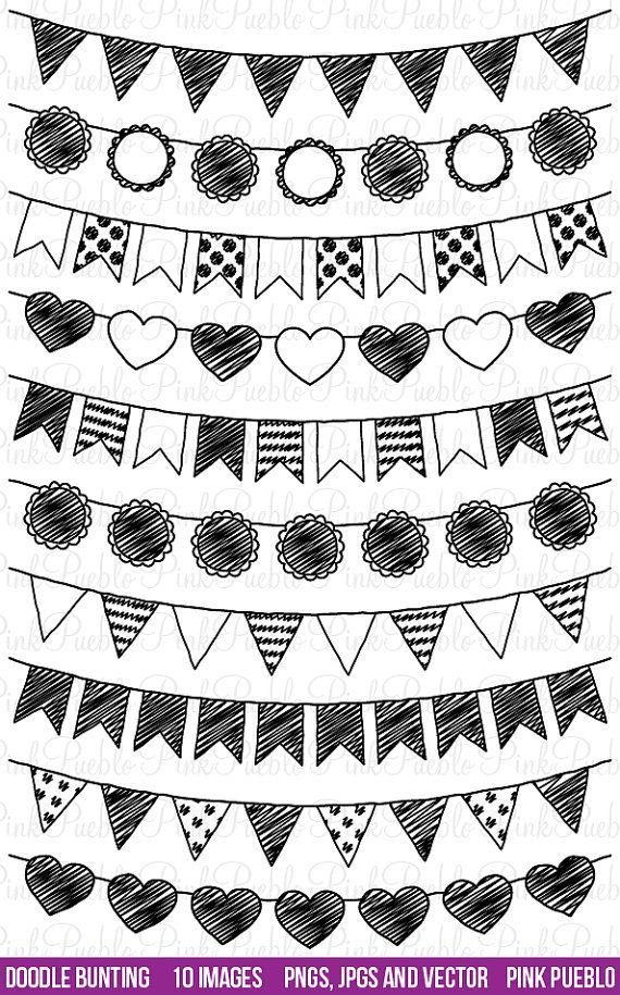 Doodle Bunting Clipart Clip Art Doodle Flags Ribbons Banners Etsy Bullet Journal Inspiration Bullet Journal Doodles Doodle Art