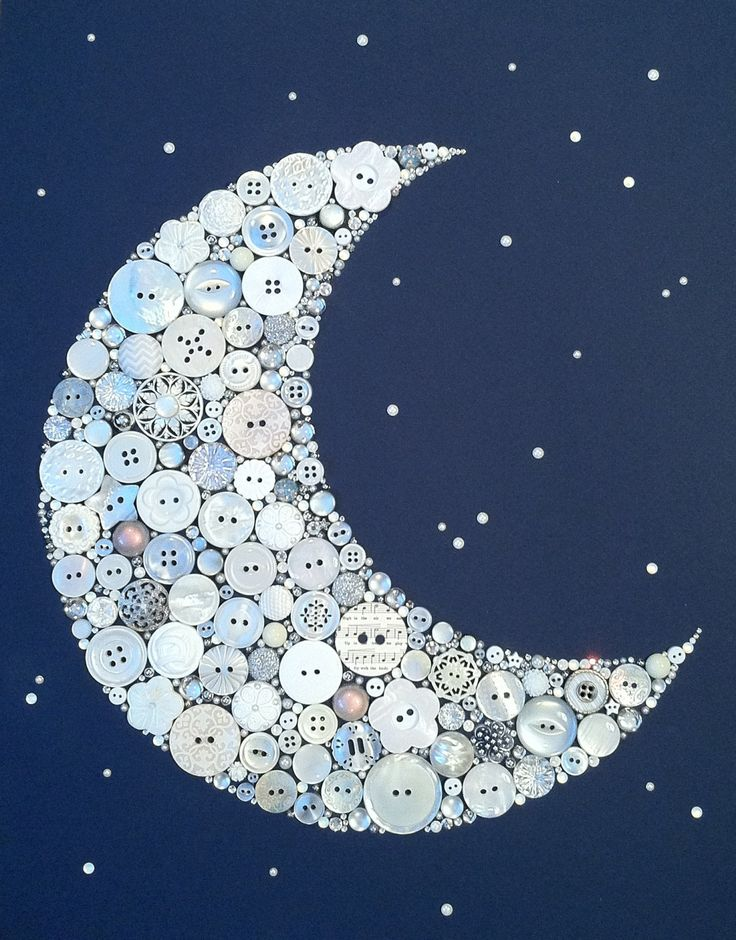 "11""x14"" Crescent Moon and Stars Buttons Brads Custom Wall Art. $124.00, via Etsy."