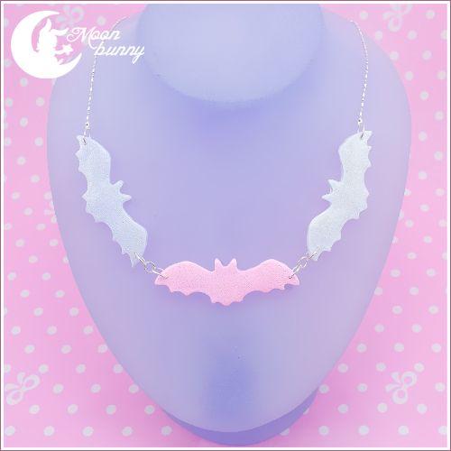 pastel-goth-princess: mi-pequena-princesa: shopping-and-shit: Bats Necklace$18.50 USD ❤ ❤