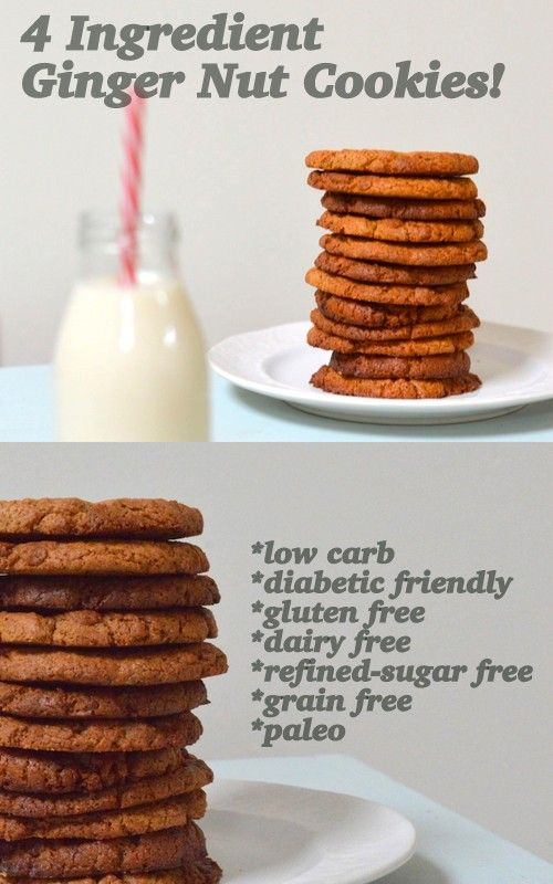 Gluten free cookie recipe with only 4 ingredients! These are also low carb, dairy free, refined sugar free, grain free, blood sugar friendly and paleo!
