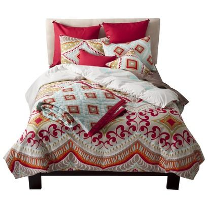 This was my choice for the Master bedding!  We have had a Black and White Bedroom forever and I'm ready for something cheery! But who am I to coplain when I have the rest of the house in bright red, yellow and orange!!  The Kitchen is Marks. It will be interesting to see his decorating choices to go with the new Black appliances!