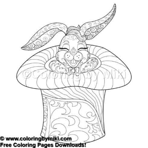 Circus Zentangle Magic Bunny Coloring Page #797 (With ...