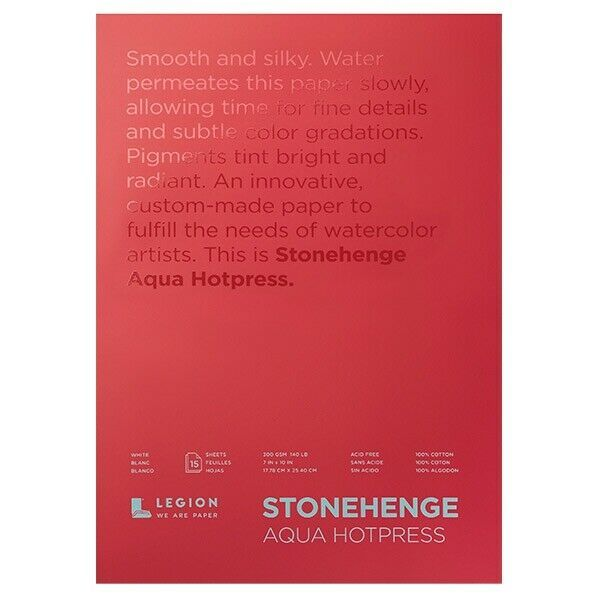 Stonehenge Aqua Watercolor Paper 140lb Hot Press 7x10 Block Of 15