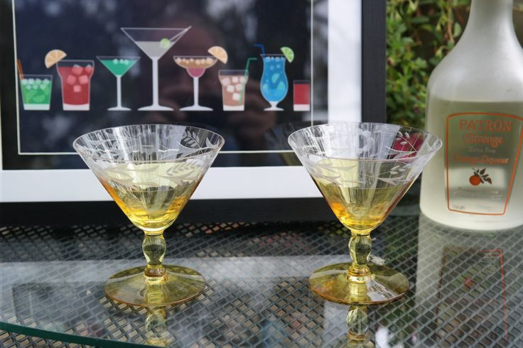 Vintage Chartreuse & Clear Etched Crystal Martini Champagne Coupe Wine Glasses, Mad Men Barware, Vintage Cocktail Glasses, Vintage Barware by Antiquevintagefind on Etsy