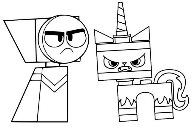 Master Frown And Angry Unikitty Coloring Page Lego Coloring