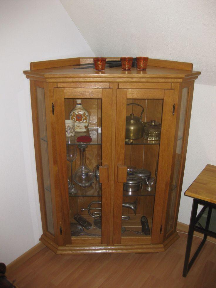 Hoekkast met glazen deuren meubels en speelgoed van hout for Ladenblok marktplaats