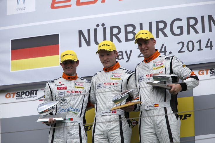 Stian Paulsen, first, Manuel Giao, second and Jordi Oriola third in the second race at the Nürburgring in Germany