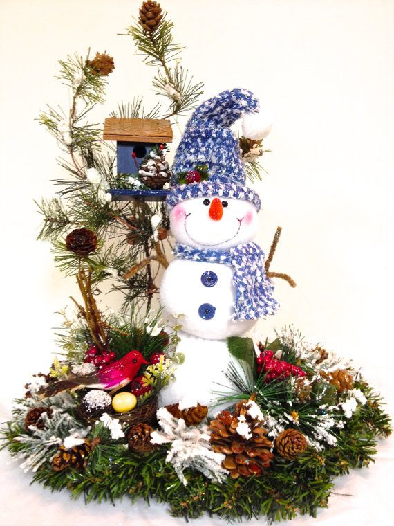 "NEW Snowman Custom Designed Holiday Christmas Table Arrangement Centerpiece Blue & White (18""H x 18""L)"