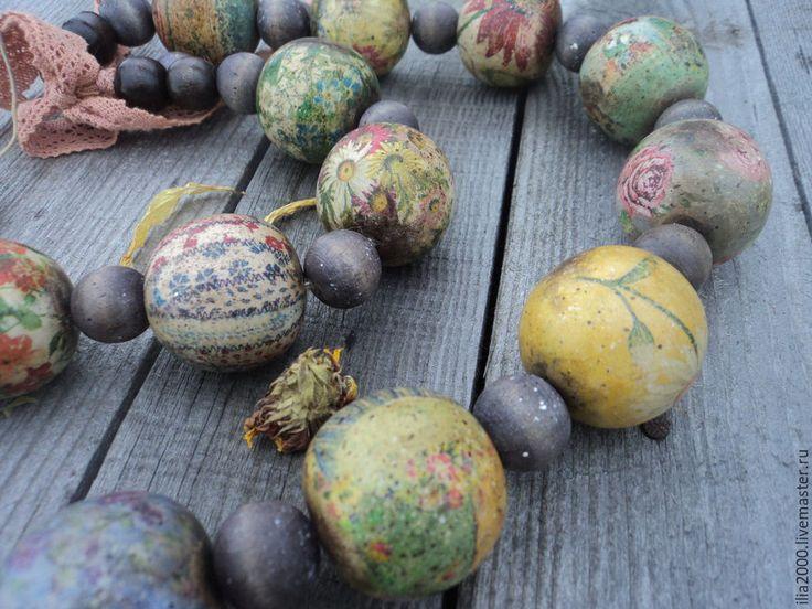 Купить Бусы Ассорти - бусы, бусы ручной работы, деревянные бусы, крупные бусы, украшение