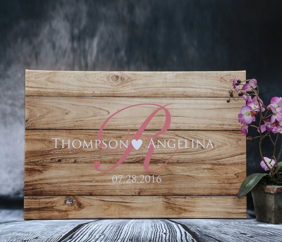 Wood Canvas Wedding Guest Book, Alternative Guestbook Rustic Wedding Sign In…