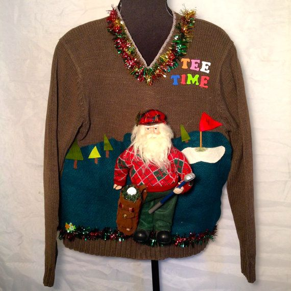 """TEE Time"", Santa's Holiday. Men's Cheap Ugly Christmas Sweater."
