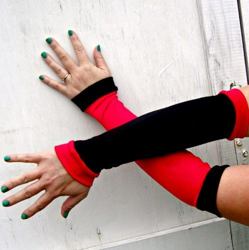 Harley Quinn inspired Arm Warmer Gloves Batman