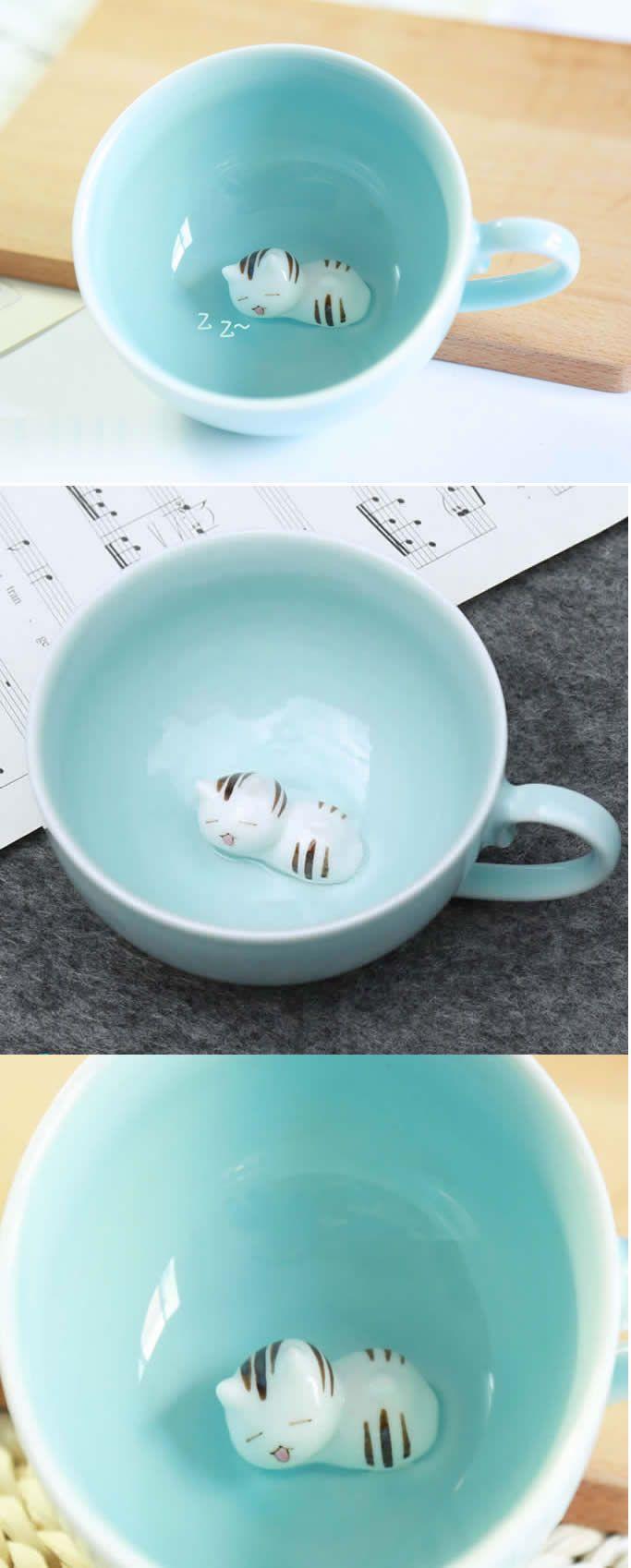 Cute Cat Figurine Ceramic Coffee Cup