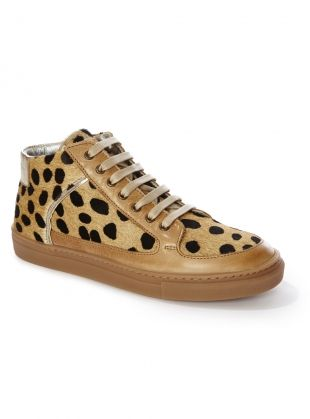 Young British Designers: Tan Cheetah Simmy Mid Top Sneakers by Rose Rankin - Rose Rankin is the new name to watch in sneakers. Sumptuous and comfortable they work as both downtime and uptown choices. All hail a British designed and crafted trainer to wear and adore.