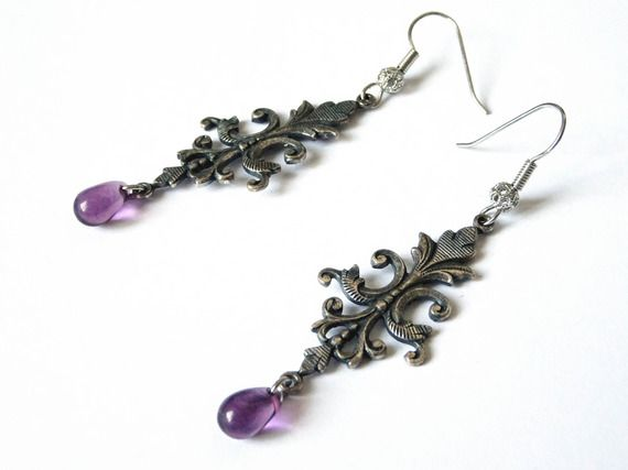 Boucles d'oreilles rétro lys royal et gouttes violettes