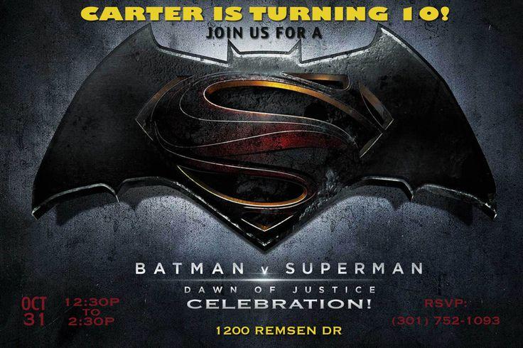 Batman vs. Superman Invitation, Dawn of Justice Birthday Party ...
