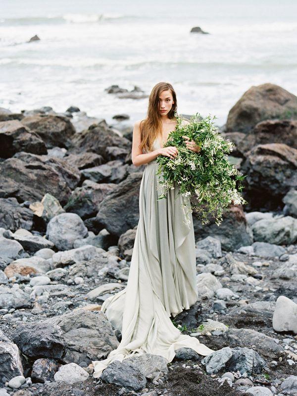 Serene Oceanside Wedding Inspiration - THAT DRESS! I mean...COME ON!