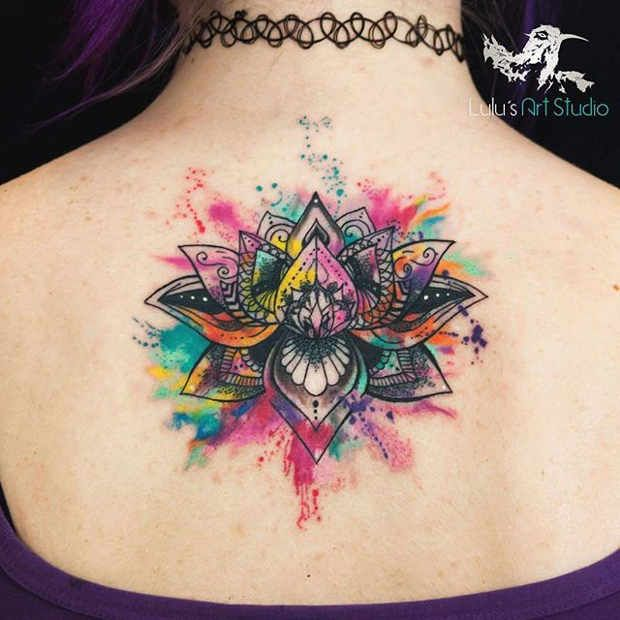 Women's Bright Watercolor Mandala Back Tattoo