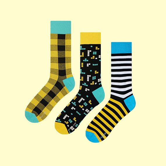 3 Just for Fun Socks | mens socks | casual socks | cool socks | women socks | check socks | patterned socks | colorful socks | cotton socks