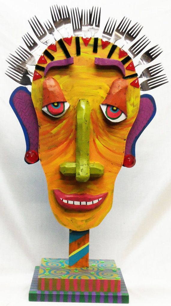 Forked Folk art Sculpture Mixed Media by RaintreeDesignStudio