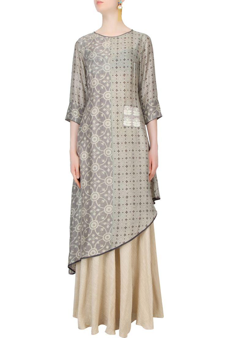 Grey half and half printed asymmetric tunic and off white skirt set available only at Pernia's Pop Up Shop.