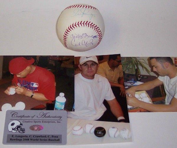 Evan Longoria, Carl Crawford & Carlos Pena Hand Signed 2008 World Series Official Major League Baseball