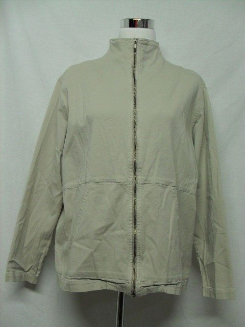 24.99$  Watch now - http://viibj.justgood.pw/vig/item.php?t=awuavnu0945 - Chico's Design beige zip up cotton blend jacket. 24.99$
