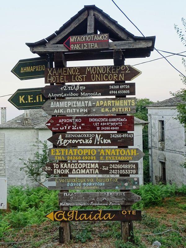 Road sign in Tsagarada