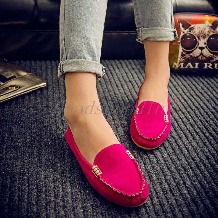Women's Ballet Flats Shoes Fashion Cute Slip On Low Heel Ladies Boat Shoes 8