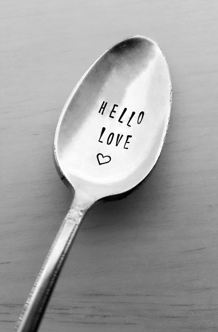 Hello Love Spoon, Hand Stamped Spoon, Custom, Personalized, Valentine's Day, Gift, Present, Birthday, Anniversary, Coffee Spoon, Love Gift by SweetMintHandmade on Etsy https://www.etsy.com/listing/264413714/hello-love-spoon-hand-stamped-spoon