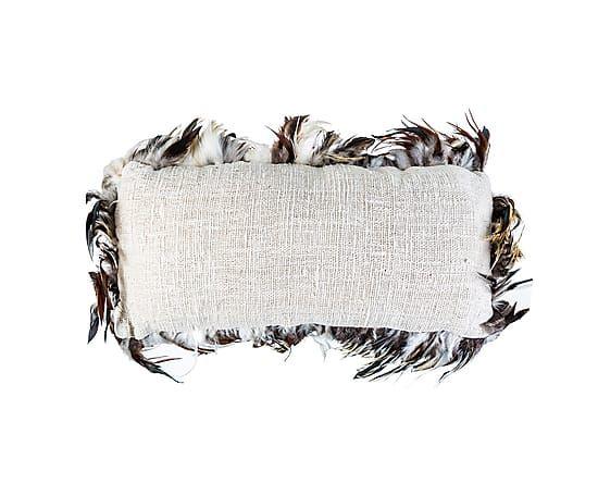 Подушка с перьями - лен - В10хШ30хД60