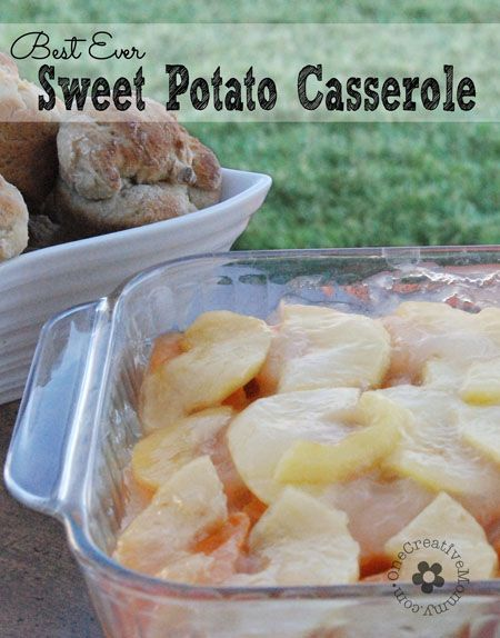 Best Ever Sweet Potato Casserole--Perfect for Thanksgiving!  The surprisingly tangy/sweet flavor of the apples with the sweet potatoes is a hit every time I serve this dish! {OneCreativeMommy.com} #thanksgiving #glutenfree #sweetpotatocasserole