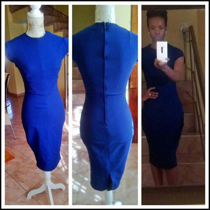 I love this royal blue body con dress I made on my mum's dinning table:)