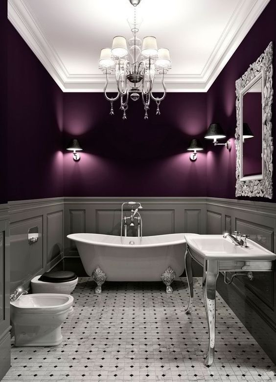 Retro Purple Bathroom - It's time for reflection. Team rich purples with soft down-lights and reflective surfaces for a feeling of luxury.