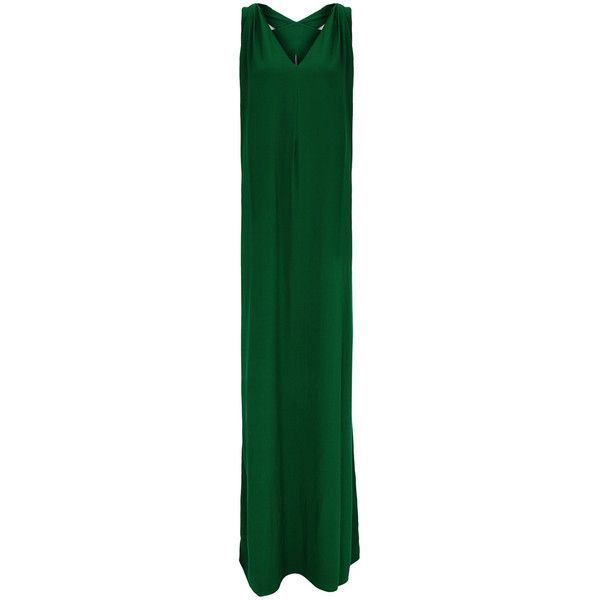 Rosetta Getty Dark Green Twisted Gown - Size 10 (3.655 BRL) ❤ liked on Polyvore featuring dresses, gowns, green gown, dark green evening dress, dark green dress, green ball gown and rosetta getty