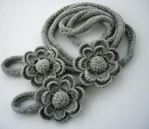 Knit7crochet flower Necklace