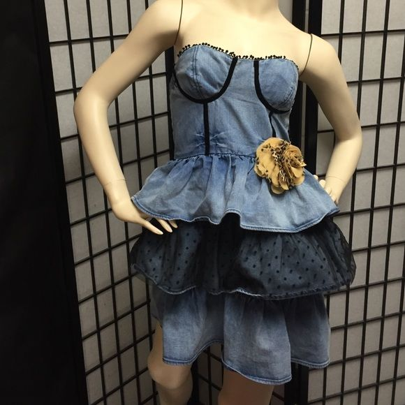 Sexy Denim Party Dress Wow them in this almost Steam Punk look!  Size small says it all! Perfect condition. Next Era Couture Dresses Strapless